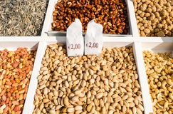 Sale of various nuts and sweets Stock Photography