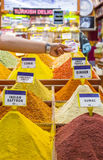 Sale of various spices Royalty Free Stock Images
