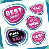 Sale - vector badges collection. Abstract sale badges set. Black Friday abstract badge. Best offer badge. Stock Photography