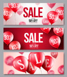 Sale vector balloons banner set. Collections of flying balloons with 50 percent off. In red and white backgrounds for store marketing promotions. Vector royalty free illustration