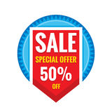 Sale vector banner design - discount 50% off. Special offer christmas layout. Abstract poster background. Stock Photo