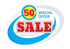Sale vector banner design - discount 50% off. Special offer layout. Limited time only! Abstract background. Flyer sticker.  Royalty Free Stock Image