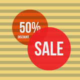 Sale vector banner - discount 50 off. Stock Photo