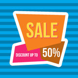 Sale vector banner - discount 50 off. Royalty Free Stock Images