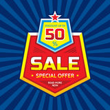 Sale vector banner - discount up to 50%. Special offer concept layout. Read more now. Creative badge design.  Stock Photography