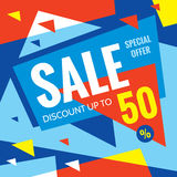 Sale vector banner - discount up to 50%. Special offer creative layout. Advertising concept design.  stock illustration