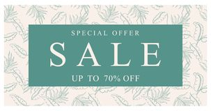 Sale Vector Banner. Now Up to 70% off Discount. Special Offer in a Green Frame. stock illustration