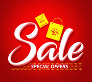 Sale Vector Banner with Special Offers Text and Shopping Bags. Icon in Red Background. Vector Illustration Stock Photography