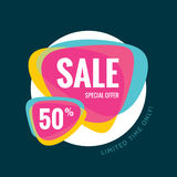 Sale vector banner template - special offer 50% - limited time only. Abstract ackground. Discount design layout Stock Photo