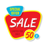 Sale vector banner template - special offer 50% - limited time only. Abstract background. Discount design layout.  Royalty Free Stock Image