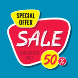Sale vector banner template - special offer 50% - limited time only. Abstract background. Discount design layout.  Royalty Free Stock Photography