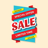 Sale vector banner template - special offer - limited time. Abstract background. Discount design layout. Royalty Free Stock Photo