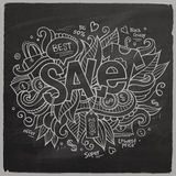 Sale Vector hand lettering On Chalkboard Stock Photo