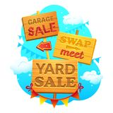 Sale vector illustration. Garage sale, Swap meet, Yard sale, Information signs of wood with direction signs, vector illustration in cartoon style Stock Photos