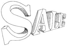 Sale. Vector illustration of hand-drawn letters SALE Royalty Free Stock Photos