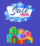Sale -70 Vector Illustration Poster Label Gifts. Sale -70 vector illustration poster with label decorated by snowflakes, pile of gift boxes, Xmas presents in Royalty Free Stock Photo