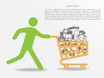 Sale. vector illustration. Sale. running man with shopping cart. vector eps10 Stock Photo