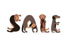 Sale. Vector Inscription of dog letters Stock Photos
