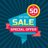 Sale vector origami concept banner template - special offer 50% off. Abstract background. Discount design layout. Sticker creative. Badge. Just now Stock Photos