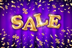 Sale vector origami concept banner template - special offer 50% off. Abstract background. Discount design layout. Sticker creative. Vector Gold sale balloons Stock Images