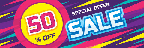 Sale vector origami horizontal banner - special offer 50% off. Abstract background. Design layout template Royalty Free Stock Photo