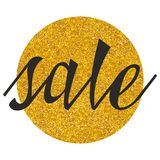 Sale vector sign on golden background isolated on white Royalty Free Stock Images