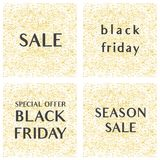 Sale vector sign set on golden background. Sale vector elegant sign set on golden background Royalty Free Stock Photography