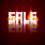 Sale Vector Title in Flames, Fire. On Dark Background Stock Photography