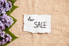 For sale, on vintage background with flowers Royalty Free Stock Photography