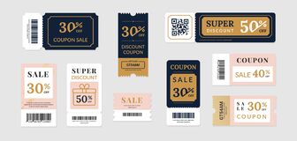 Free Sale Vouchers. Coupon Mockup Design For Sale And Gift Event Posts In Social Media, Discount Ticket Collection. Vector Stock Photography - 190894192
