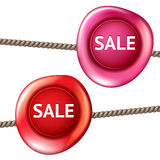 Sale wax seal. Sale design vector isolated sign, bright realistic pink and red wax Stock Photos