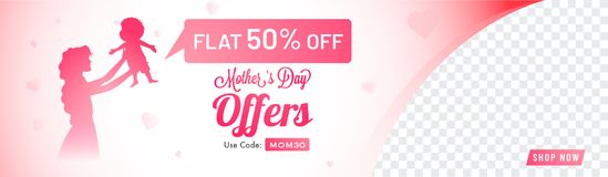 Sale web banner design for Mother`s Day celebration with silhoue. Tte of a mother with her infany and 50% Off Offer Royalty Free Stock Photography