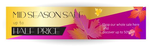 Sale web banner. Mid season sale web banner. Autumn Sale discount gift cards. Fall maple leaves abstract background. Save up to half price leaflet. Shop whole Stock Image