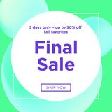 Sale web banners template. For special offers advertisement. Trendy colors in a modern material design style. New arrivals and final saleconcept for internet Royalty Free Stock Photos