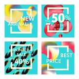 Sale web banners template. S for special offers advertisement. Liquid colors within different forms. New arrivals, new collection, sales concept for internet Royalty Free Stock Images