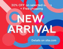 Circles-2 copy. Sale web banners template for special offers advertisement. Trendy colors in a modern material design style. New arrivals and final saleconcept Royalty Free Stock Photos