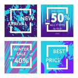 Sale web banners template. S for special offers advertisement. Liquid colors within different forms. New arrivals, new collection, sales concept for internet Stock Images