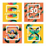 Sale web banners template. S for special offers advertisement. Liquid colors within different forms. New arrivals, new collection, sales concept for internet Stock Photography