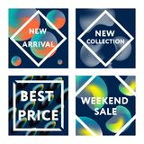 Sale web banners template. S for special offers advertisement. Liquid colors within different forms. New arrivals, new collection, sales concept for internet Royalty Free Stock Photography
