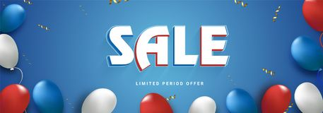 Sale, web header or banner design with balloons. 4th of July, Am. Erican Independence Day celebrations Royalty Free Stock Images