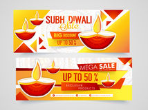 Sale web header or banner for Diwali. Creative sale website header or banner set with lit lamps for Indian Festival of Lights, Happy Diwali celebration Stock Images