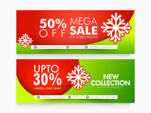 Sale web header or banner for Happy Holidays. Glossy website header or banner set of Mega Sale with fantastic discount offer for Happy Holidays celebration Stock Photo