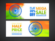 Sale web header or banner for Indian Independence Day. Stock Photos