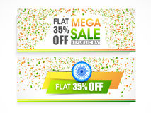 Sale web header or banner for Indian Republic Day. Royalty Free Stock Photo