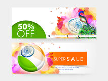 Sale web header or banner for Indian Republic Day. Stock Photos