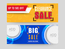 Sale web header or banner set. Creative website header or banner set with space to add images for Big Clearance Sale with 50% discount offer Stock Image
