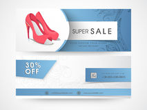 Sale web header or banner set for girls footwear. Sale and discount offer website header or banner set of womans sandal Royalty Free Stock Photos