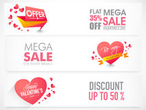 Sale web header or banner for Valentine's Day. Stock Images