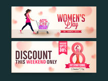 Sale web header or banner for Women's Day. Limited Time Sale website header or banner set with discount offer for Happy Women's Day celebration Royalty Free Stock Image