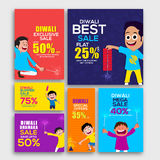 Sale Web Header or Post for Diwali. Set of Sale Web Banners, Discount Offer Post, Bumper Dhamaka Ads with Firecrackers and Characters for Indian Festival of Royalty Free Stock Images